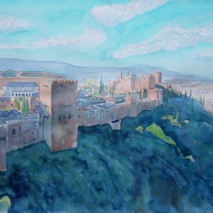 水彩「グラナダ・アルハンブラ宮殿」