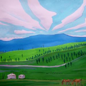水彩「初夏のモンゴル草原」