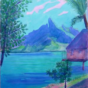 水彩「ボラボラ島」
