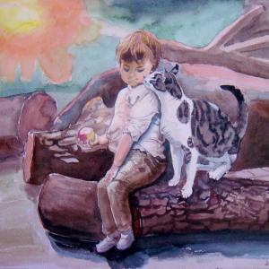 水彩「猫と一緒」