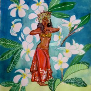 水彩「タヒチアンのおどり」