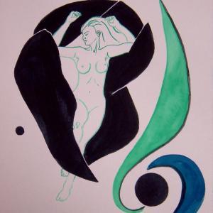 水彩「裸婦」