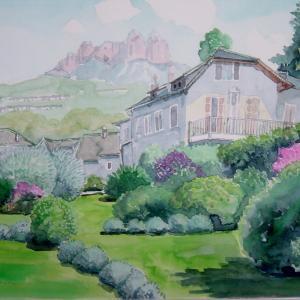 水彩 「フランス・クロワール村」