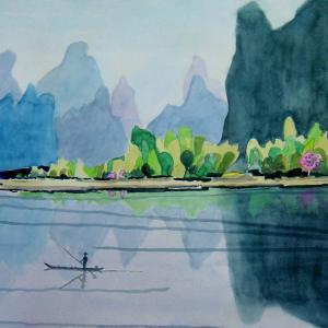 水彩「桂林ーー1」