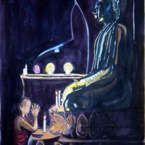 水彩「祈り」