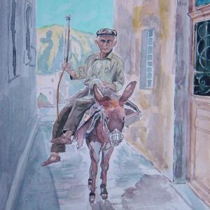 水彩「ロバに乗った老人(ギリシャ)」