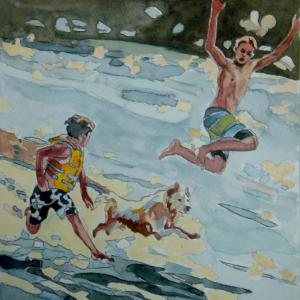 水彩「水辺の競争」