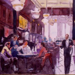 水彩「レストラン」