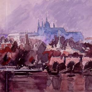 水彩「プラハ旧市街遠望」