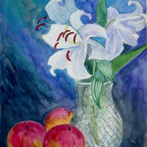 水彩「ユリと桃」