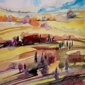 水彩「トスカーナ地方の風景」