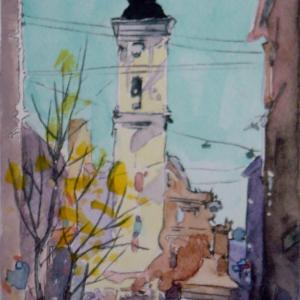 水彩「教会前広場」