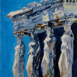 水彩「パルテノン神殿のエレクティオン(ギリシャ)」