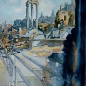 水彩「ローマ市のホォロ・ロマーノ遺跡」