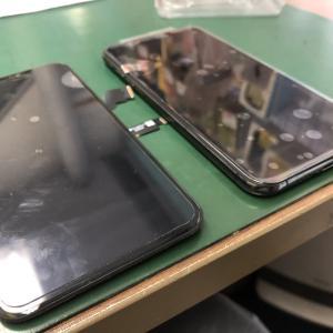 iPhoneXSMaxのフロントパネルを交換!水に濡れたらつかなくなってしまいました・・・