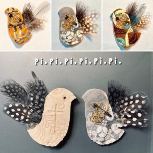 陶板*小鳥のブローチ