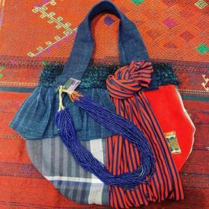 赤い皮と藍のbag(^^)
