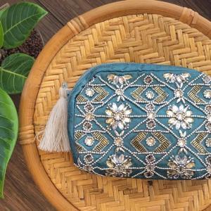 インド製ビーズ刺繍ポーチ