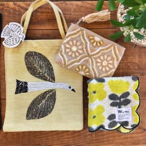 ハンカチ&ビーズ刺繍ポーチ