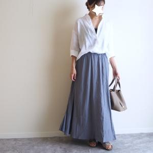 人気なのも納得!くすみブルーが可愛すぎたマキシ丈スカート