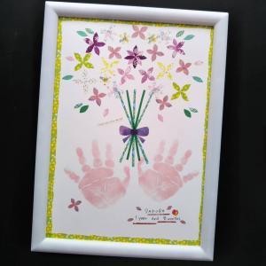 【敬老の日】花束の手形アート。