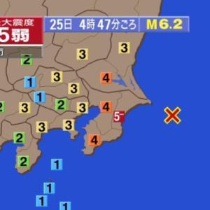 2020年6月25日午前4時47分千葉県北東部で震度5弱の地震