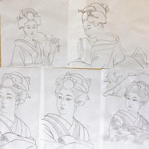 美人画の線描練習と研究