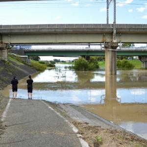 初めてみたこんな利根川の危険水位 before & after