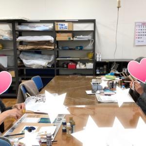 アークオアシスデザインでのデコパージュ教室:いろいろな下地模様