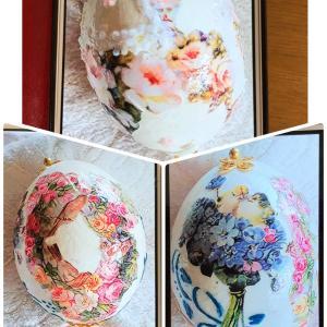 生徒さんの作品です:卵のデコパージュ