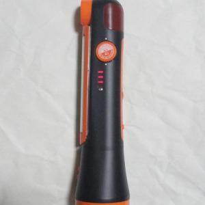 ソーラー充電ラジオライトの点灯、充電確認