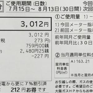 8月分ガス代 / 最近読んだ本
