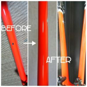 ロードバイク☆フロントフォーク傷補修RED