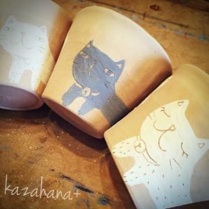 猫のフリーカップ「ホカホカの素焼き)