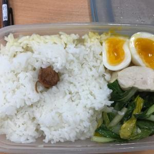 今日の昼ごはんは鶏胸肉とナッパ炒めに茹で卵 夕ご飯は焼肉