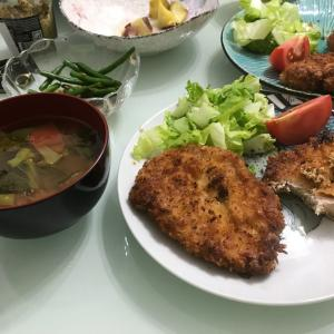 夕ご飯は豚カツ 今日のマッチャとラン