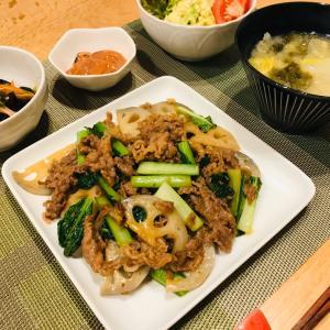 レンコンと牛肉とチヂミナの炒め物、ポーランド食器