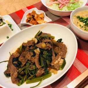 牛肉と空芯菜の炒め物、三陸弁当