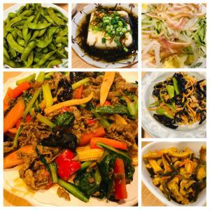 冷蔵庫の野菜と牛肉のテンメンジャン炒め、開き直り