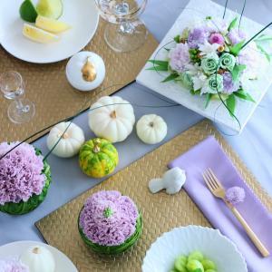 テーブルコーディネートに花を添える