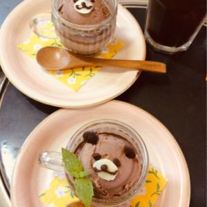 アイスでくまチョコプリン(*☻-☻*)