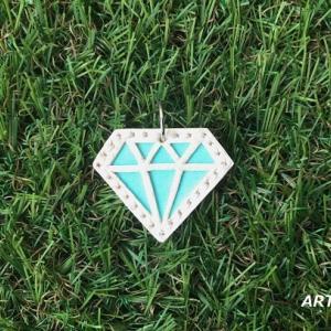 ワンコ用、革のダイヤモンドネックレス♪