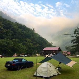 小川張り用自作ロープを試すためにロードスターでキャンプに行ってきた