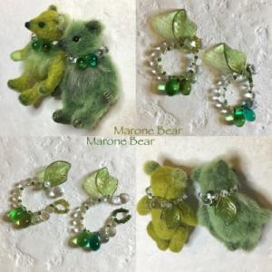 緑のミニチュアベアちゃんたちの首飾り