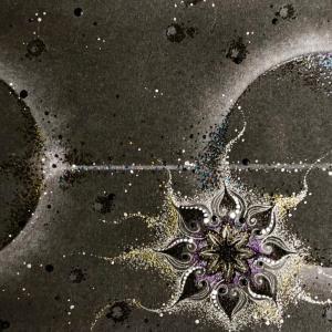 皆既日食をパステル曼荼羅アートで描いてみたら