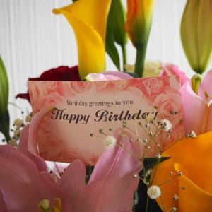 今年の誕生日とお花と家族