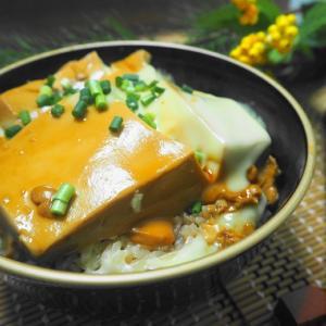 最近話題のとうめし☆茶色いお豆腐丼にチーズプラス