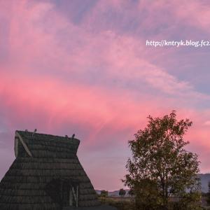 道の駅 丹波おばあちゃんの里  竪穴式住居跡 夕景