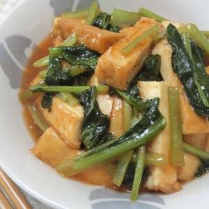 フライパンでささっと☆ 厚揚げと小松菜の甘酢ケチャップ炒め