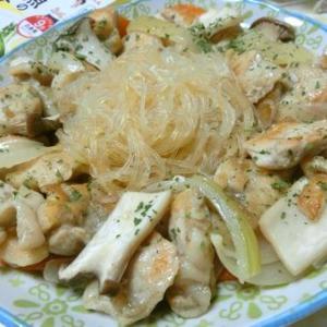 にんべんの調味料で簡単☆ 鶏むね肉の春雨パエリア風
